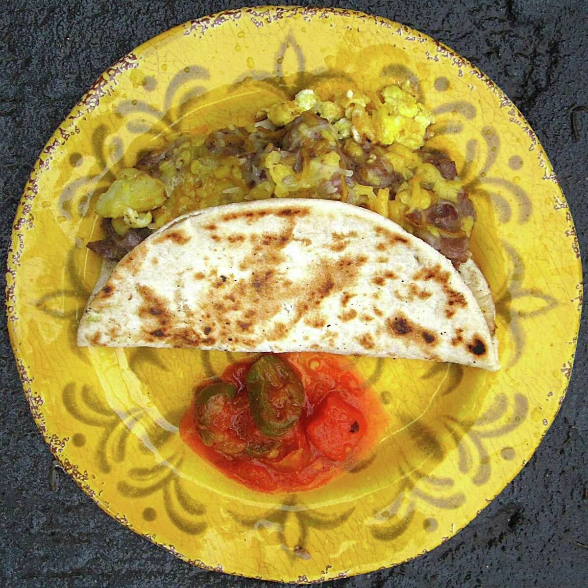 A taco called simply Moe starts as a simple potato and egg taco on a toasted handmade flour tortilla, but then it goes turbo with carne guisada gravy and cheese at Georgia's Mexican Restaurant.