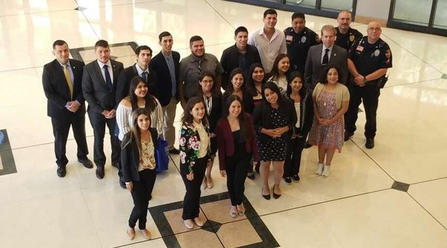 Criminology students from the Universidad Autónoma de Nuevo León stopped by the Laredo Police Department on Monday morning to learn about investigative techniques in homicides and traffic fatalities.  Photo: Cesar Rodriguez/Laredo Morning Times
