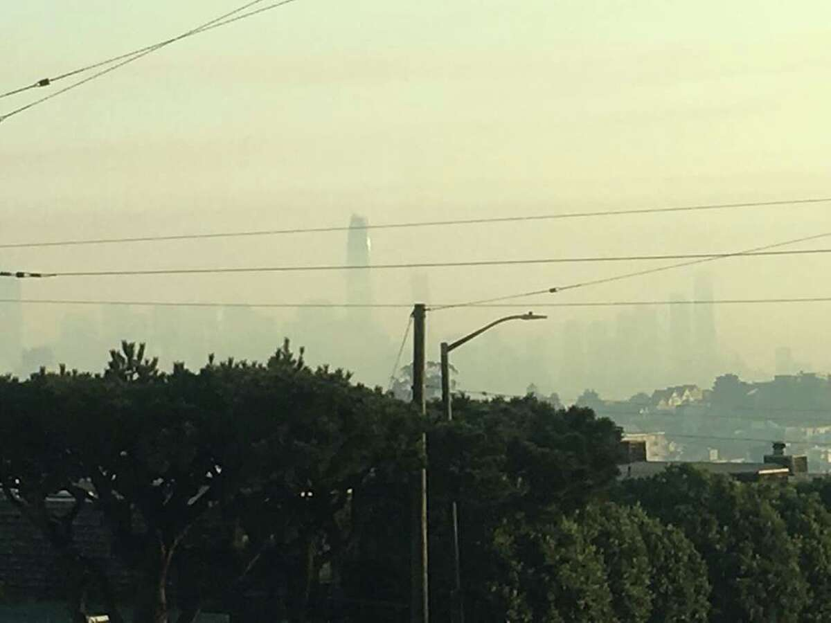 San Francisco chokes on wood smoke from fires burning in the North Bay on Oct. 17, 2017.