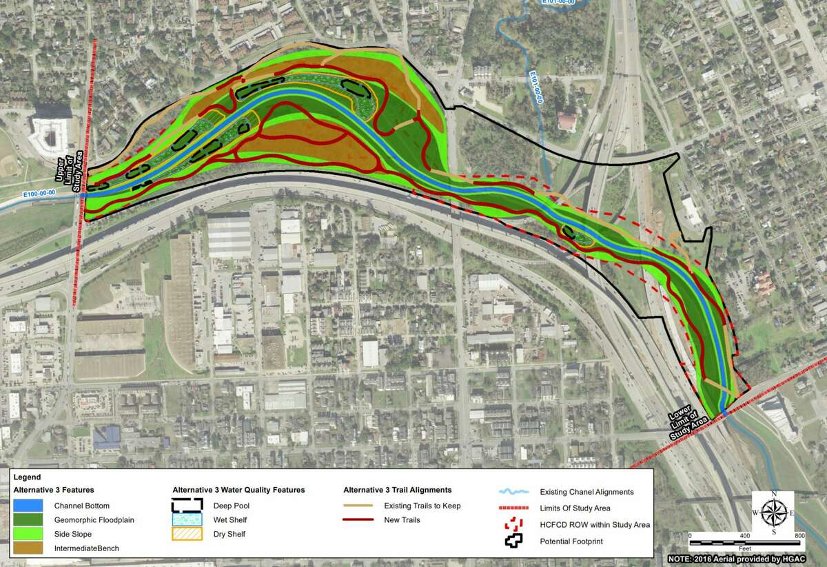 Harris County Flood Control District officials are weighing options of replacing concrete along White Oak Bayou near downtown. This graphic shows the most ambitious of three options, which would connect the bayou to parkland to the north and land owned by the Texas Department of Transportation to the south.