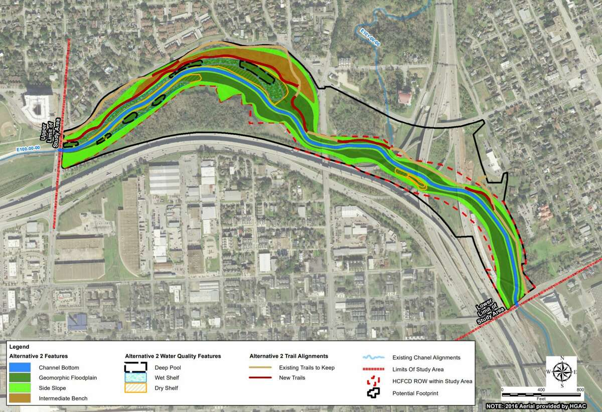 Harris County Flood Control District officials are weighing options of replacing concrete along White Oak Bayou near downtown. This graphic shows the middle of three plans, which would connect the natural bayou to City of Houston park land.