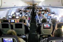 A crowded United Airlines flight