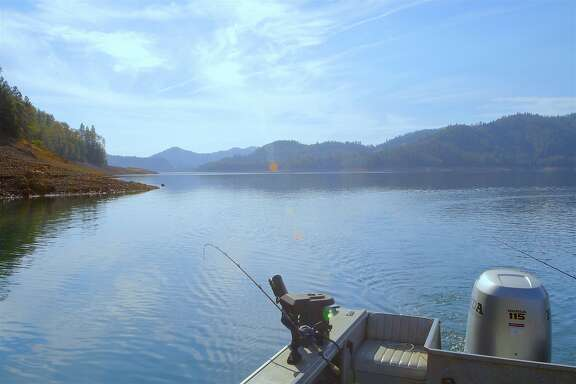 Blue-sky day this week trolling for big rainbow trout at Shasta Lake, the state's largest reservoir with 365 miles of shoreline. Shasta Lake�is entering fall and winter at 72 percent full, the highest water levels for mid-October in 10 years.
