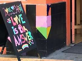 Sign outside Love on Haight