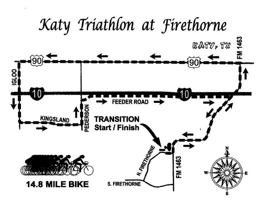 The 25th annual Katy Triathlon will be Oct. 29 around the Firethorne master-planned community. It includes a 14.8-mile bike race, a 3-mile run and a 500-meter swim. Photo: Katy Rotary Club