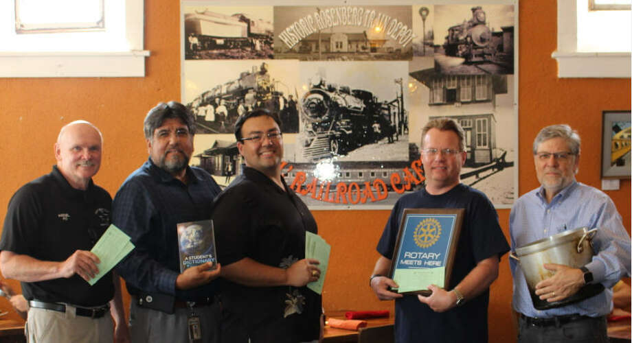 TheRosenbergRotaryClub's annual Chili Fest is scheduled for 7:30 p.m. Thursday, Oct. 19 at the Ol' Railroad Café, 819 Second St., in historic downtownRosenberg.Preparing for the annual Chili Fest areRosenbergRotarians, from left, Bob Haenel, Enrique Ramon, club President Billy Guerrero III, Darren McCarthy and Hugh Conway. Photo: Rosenberg Rotary