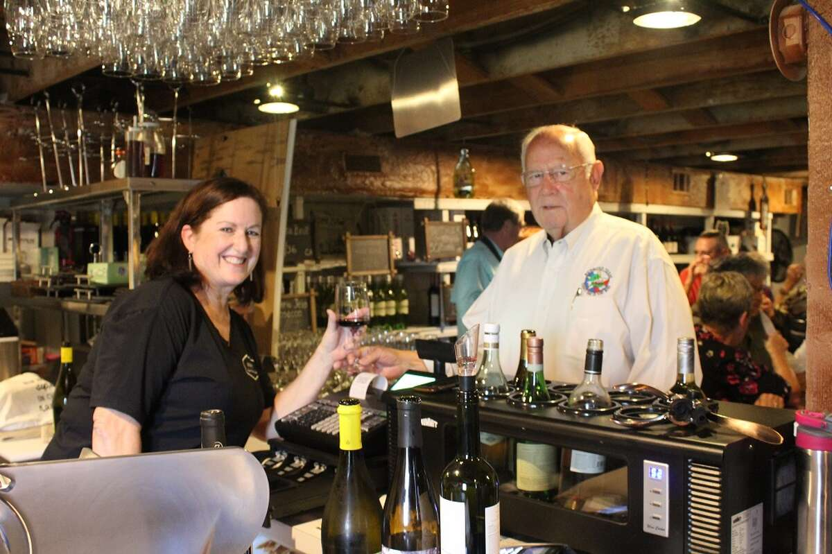 Pictured from left areRosanne Wechter, Unwine�'d Wine and Cheese Lounge; and Barry C. Beard, City of Richmond Commissioner Position 2.