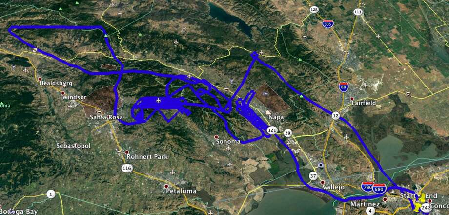 SkyIMD mapped their 3.6-hour flight path over the Napa and Sonoma fires on October 14. Photo: Michael Estigoy/SkyIMD