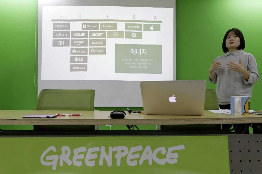Insung Lee, program campaigner of Greenpeace, speaks during a press conference at Greenpeace office in Seoul, South Korea on Tuesday. The environmental group issued a report on Tuesday giving technology titans like Samsung Electronics, Amazon and Huawei low marks for their environmental impact. Photo: Ahn Young-joon /Associated Press / Copyright 2017 The Associated Press. All rights reserved.