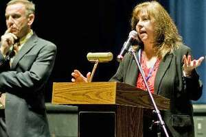 Lorrie Rodrigue, interim superintendent of Newtown schools, and former superintendent Joseph Erardi