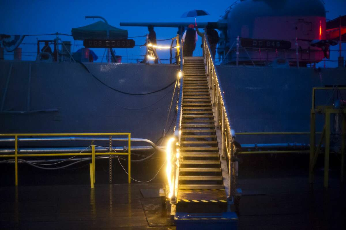 A lighted gangway is available for people to climb aboard the Edson Incident, a haunted attraction which leads visitors through 5 levels of a Vietnam era U.S. Navy Destroyer, on Saturday, Oct. 14, 2017 in Bay City. (Katy Kildee/kkildee@mdn.net)
