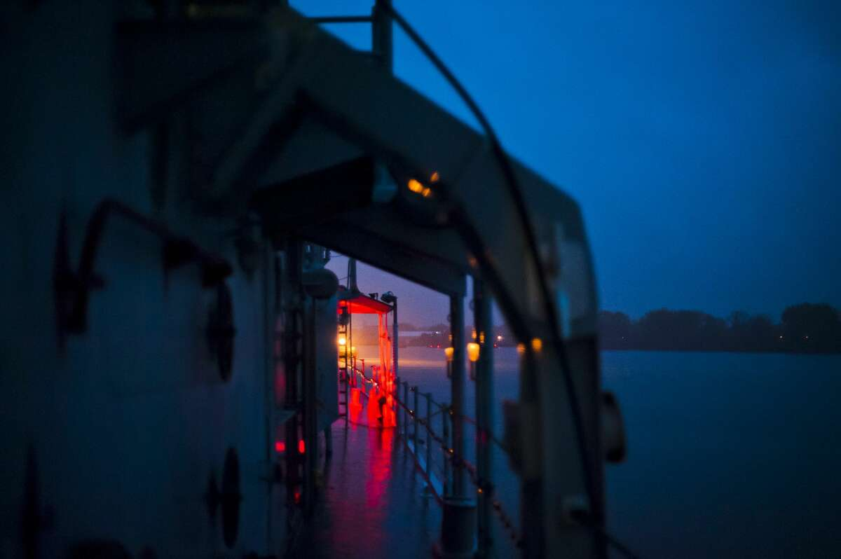 A red light illuminates the exterior of the ship at the Edson Incident, a haunted attraction which leads visitors through 5 levels of a Vietnam era U.S. Navy Destroyer, on Saturday, Oct. 14, 2017 in Bay City. (Katy Kildee/kkildee@mdn.net)