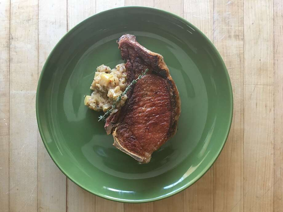 Quick-brined pork chop with tangy mustard-spiked apple sauce Photo: Sarah Fritsche