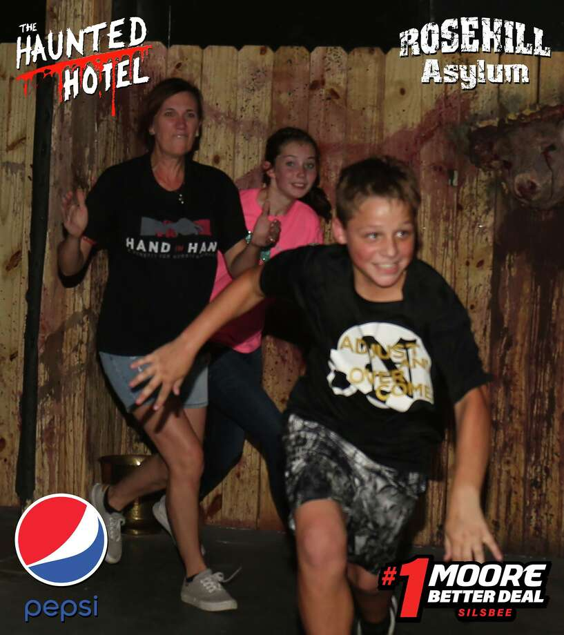 Patrons — some terrified, and some amused — exit Beaumont's Haunted Hotel. Photos: Haunted-Hotel Facebook Photo: Facebook: Haunted Hotel-Texas