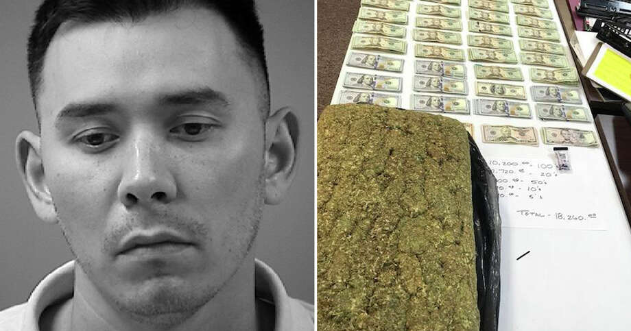 A 36-year-old man was arrested Saturday after authorities discovered 22 pounds of marijuana and more than $18,000 in his vehicle. Photo: Converse Police Department