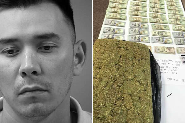 A 36-year-old man was arrested Saturday after authorities discovered 22 pounds of marijuana and more than $18,000 in his vehicle.
