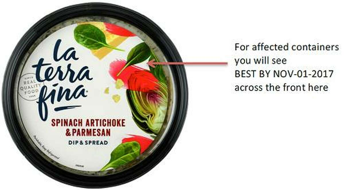 La Terra Fina is voluntarily recalling its 10 oz. container's of Spinach Artichoke & Parmesan Dip & Spread with a Best By date of Nov. 1 due to undeclared egg. The product was recalled in several states, including Connecticut. Photo courtesy of the U.S. Food and Drug Administration.