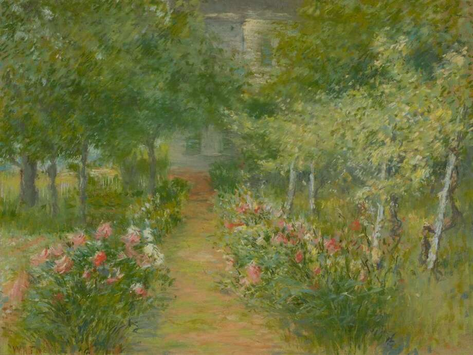 Pastel work in Greenwich Historical Society collection by an artist who spent time in Greenwich during the Cos Cob art colony era: Walter A. Fitch (1861-1910) — View of the Garden, ca. 1900. Pastel. Gift of Ruth Fitch Mason, 1958.04.02 Photo: Contributed / Greenwich Historical Society