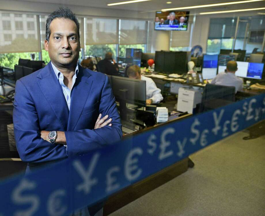 Darsh Mariyappa, head of Bank of Ireland Global Markets U.S., is photographed on Tuesday, Oct. 3, 2017, in the trading room in the bank's U.S. headquarters, at 680 Washington Blvd., in Stamford, Conn. Photo: Matthew Brown / Hearst Connecticut Media / Stamford Advocate