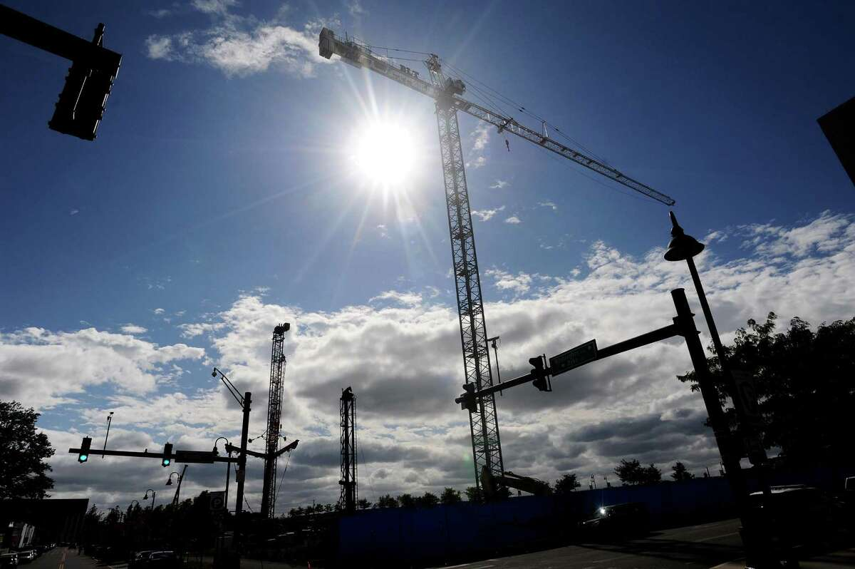 Construction of two apartment towers in the Harbor Point complex, as seen from the corner of Pacific Street and Dyke Lane, in Stamford, Conn., on Thursday, Oct. 12, 2017.