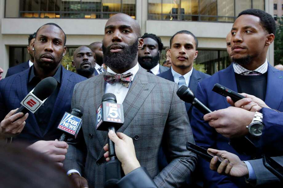 Former NFL football player Anquan Boldin, left, Philadelphia Eagles Malcolm Jenkins, center, and San Francisco 49ers Eric Reid, right, speak to the press outside the league's headquarters after meetings, Tuesday, Oct. 17, 2017, in New York. (AP Photo/Richard Drew) Photo: Richard Drew, STF / AP