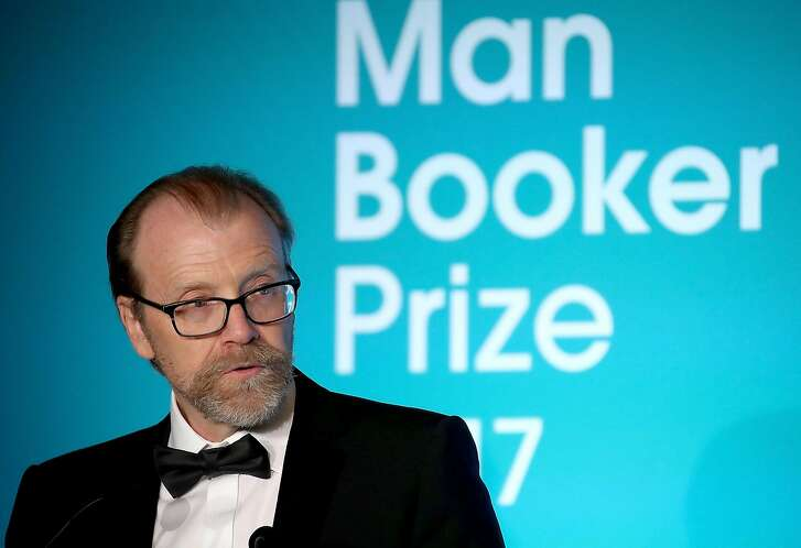 LONDON, ENGLAND - OCTOBER 17:  Winning author George Saunders on stage at the Man Booker Prize dinner and reception at The Guildhall on October 17, 2017 in London, England.  (Photo by Chris Jackson/Getty Images)