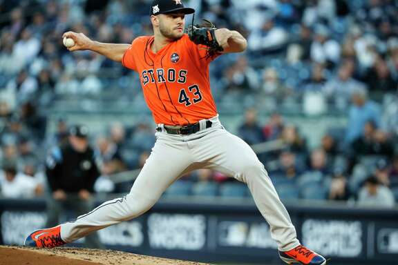Houston Astros starting pitcher Lance McCullers Jr. pitches against the New York Yankees during the first inning of Game 4 of the ALCS at Yankee Stadium on Tuesday, Oct. 17, 2017, in New York.