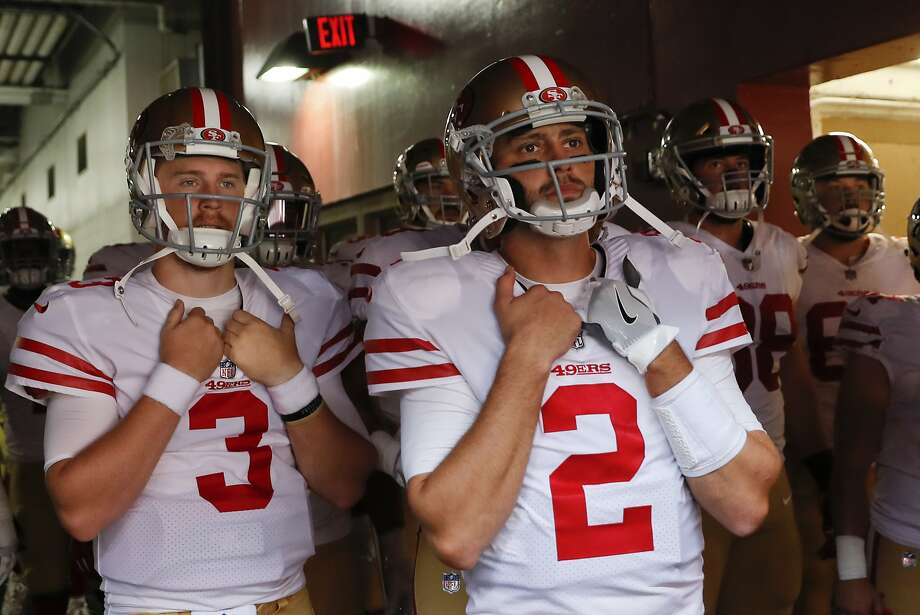 San Francisco 49ers quarterback Brian Hoyer (2) stands in the tunnel with his teammates before an NFL football game against the Washington Redskins in Landover, Md., Sunday, Oct. 15, 2017. (AP Photo/Alex Brandon) Photo: Alex Brandon, Associated Press