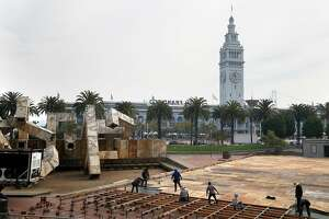 Overview of  Justin Herman Plaza as floor for the outside ice rink is set up on Tuesday, October 17, 2017, in San Francisco, Calif.