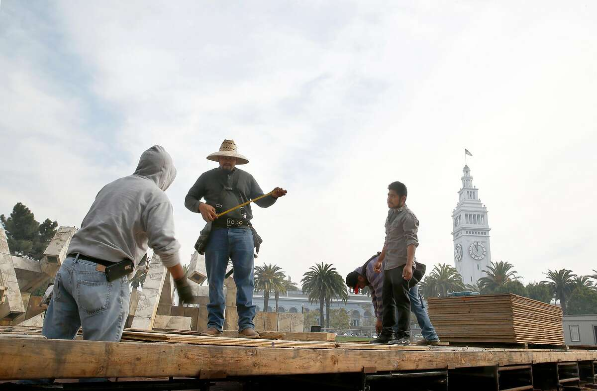 Floor for the outside ice rink is being set up at Justin Herman Plaza on Tuesday, October 17, 2017, in San Francisco, Calif. Justen Herman Plaza will soon change it's name.