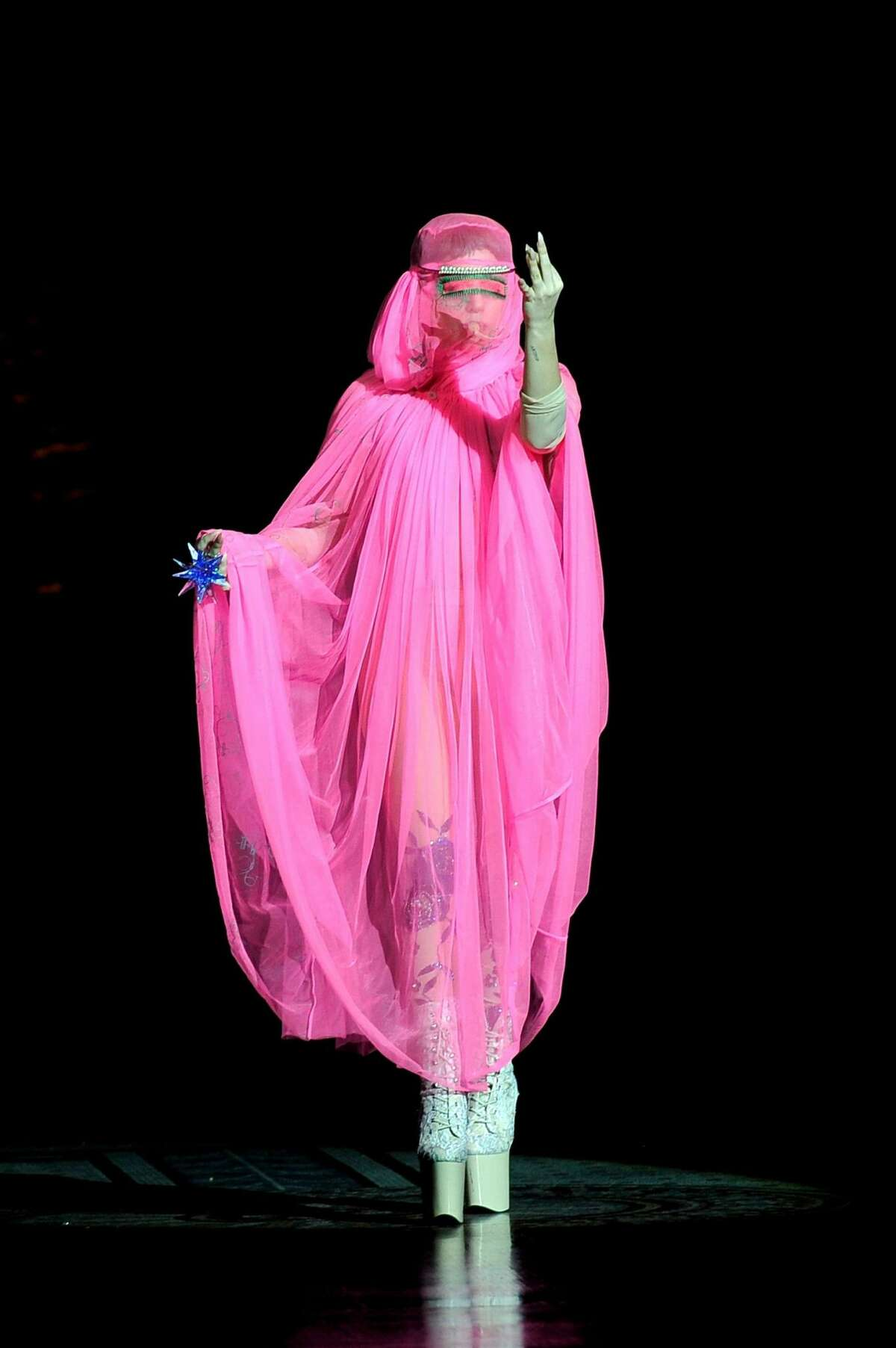 Lady Gaga at London Fashion Week in 2012 The singer offended many in the Muslim community when she walked down the London runway in a burqa. The Atlantic covered the controversy, calling her outfit choice