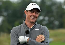 NEWCASTLE UPON TYNE, ENGLAND - SEPTEMBER 27: Rory McIlroy of Northern Ireland all smiles at a live televised Sky Sports Master Class during the British Masters previews at Close House Golf Club on September 27, 2017 in Newcastle upon Tyne, England. (Photo by Mark Runnacles/Getty Images)