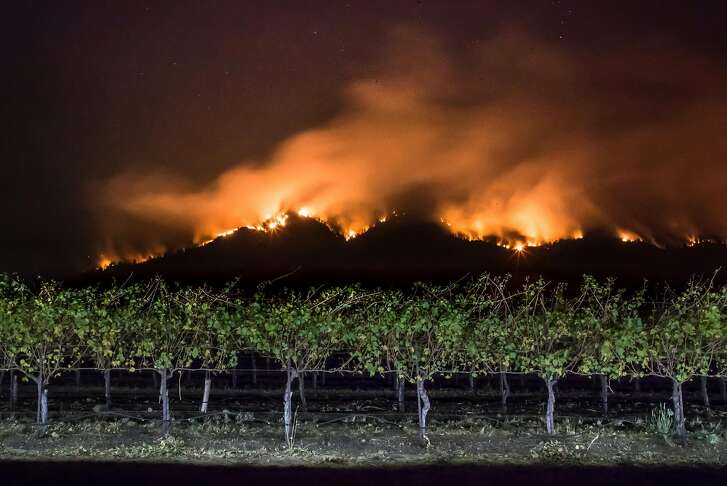 Fire burns along the ridge near a field of grape vines along Highway 12 on Monday, Oct. 16, 2017 in Oakmont, CA.