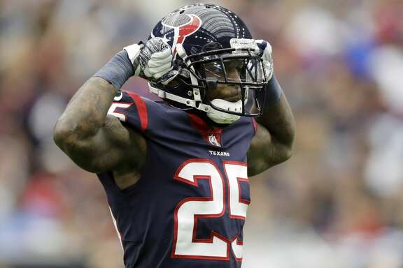Houston Texans cornerback Kareem Jackson (25) celebrates a tackle during an NFL football game against the Cleveland Browns, Sunday, Oct. 15, 2017, in Houston. (AP Photo/Eric Gay)