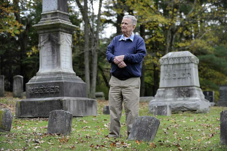 Robert Keeler Reynolds, 93, recently retired as president of the Ridgebury Cemetery Association in Ridgefield, walks the property Monday, Oct. 16, 2017. Photo: Carol Kaliff / Hearst Connecticut Media / The News-Times