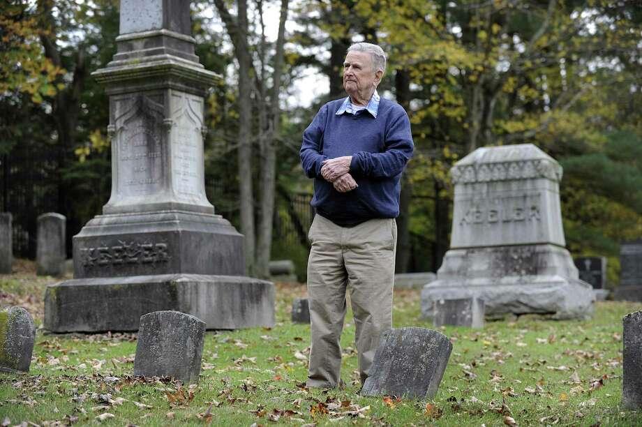 Robert Keeler Reynolds, 93, recently retired as president of the Ridgebury Cemetery Association in Ridgefield, walks the property Monday, Oct. 16, 2017. Photo: Carol Kaliff / Hearst Connecticut Media / The News-Times