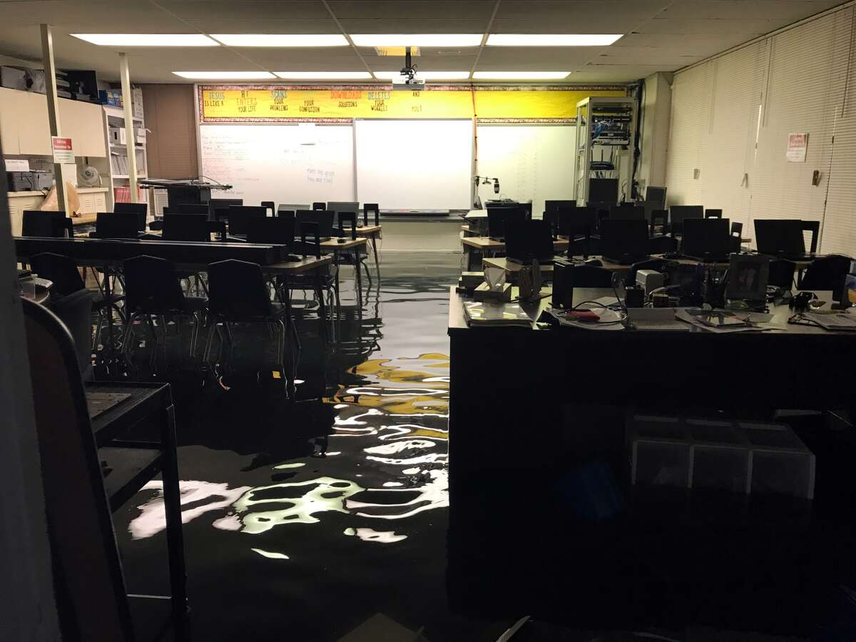 Water covers a class room floor at St. Catherine of Siena Catholic School in Port Arthur after the remnants of Hurricane Harvey passed over Southeast Texas in late August, flooding the school. (Photo provided by St. Catherine)