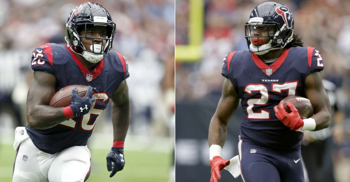 Split photo of Texans running backs Lamar Miller and D'Onta Foreman.
