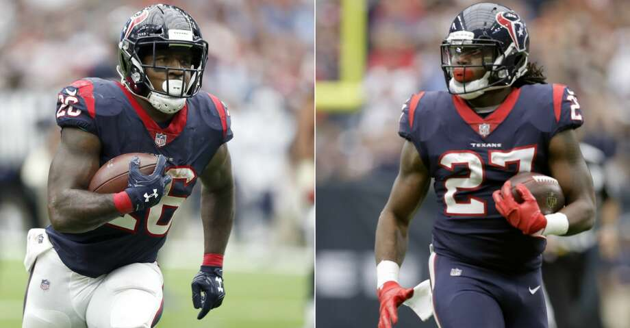 Lamar Miller (left) and D'Onta Foreman figure to get the bulk of the carries for the Texans next season, with the latter likely to cut into Miller's workload. Photo: Brett Coomer/AP