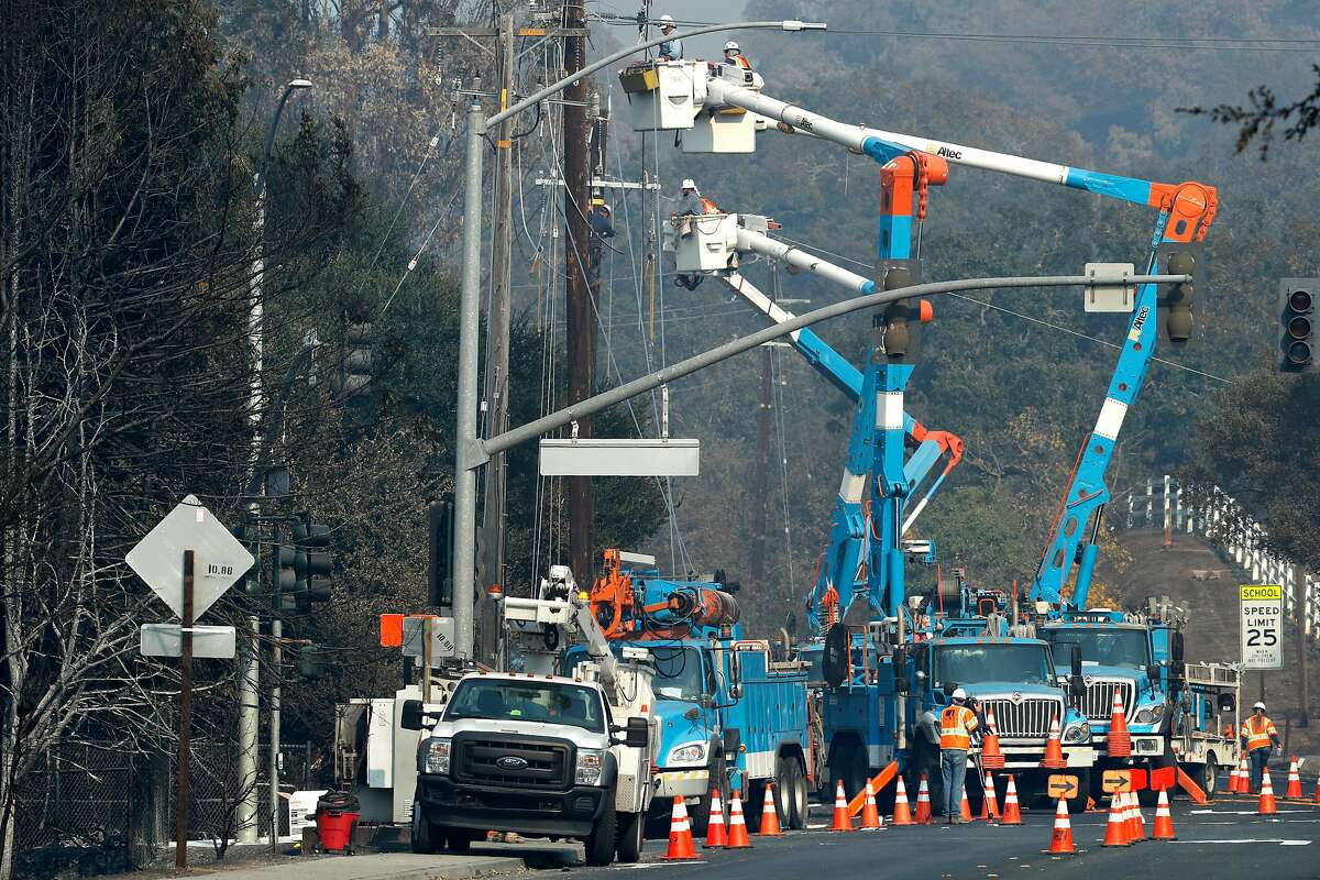 PG&E continues to repair the power across the area, here in the Wikiup neighborhood, a week after the start of the massive fires in Santa Rosa, Ca. as seen on Monday October 16, 2017.