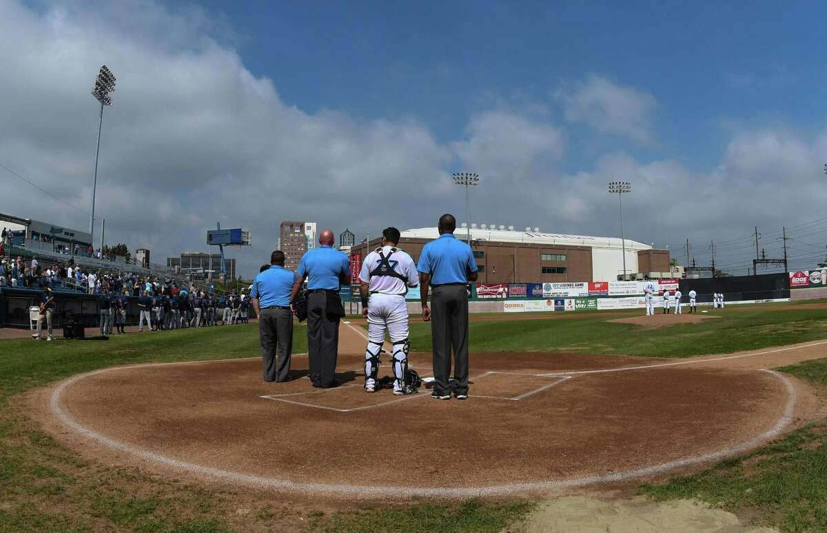 The start of the final Bridgeport Bluefish game ever to be played at the Ballpark at Harbor Yard on September 17, 2017 in Bridgeport, Connecticut.