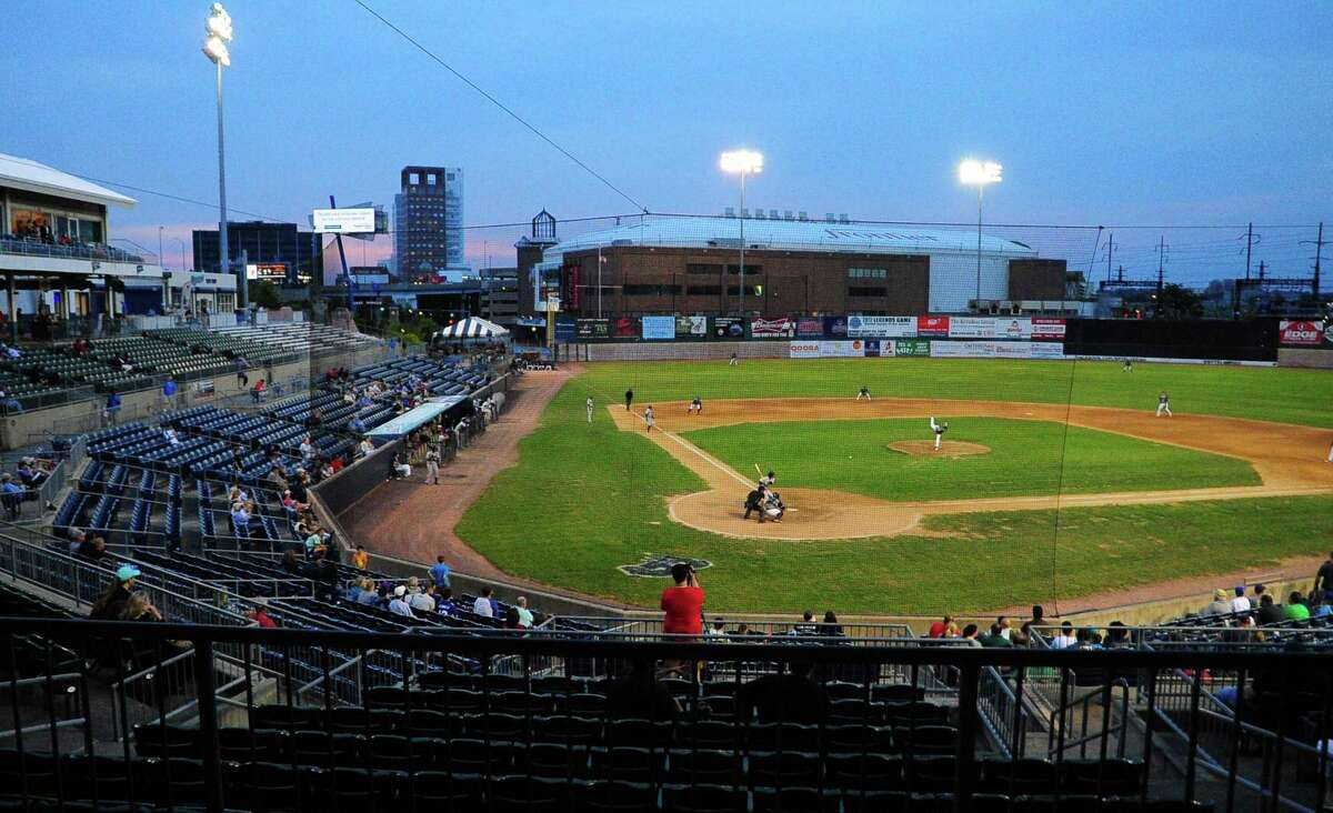 The Bridgeport Bluefish face off against the York Revolution at the Ballpark at Harbor Yard in Bridgeport in June.