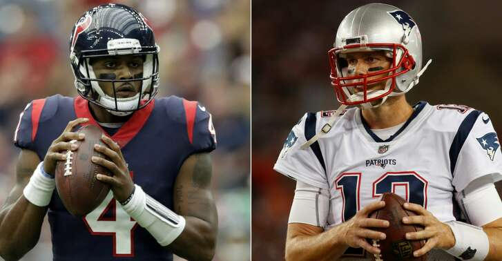 Split photo of Texans quarterback Deshaun Watson and Patriots quarterback Tom Brady.