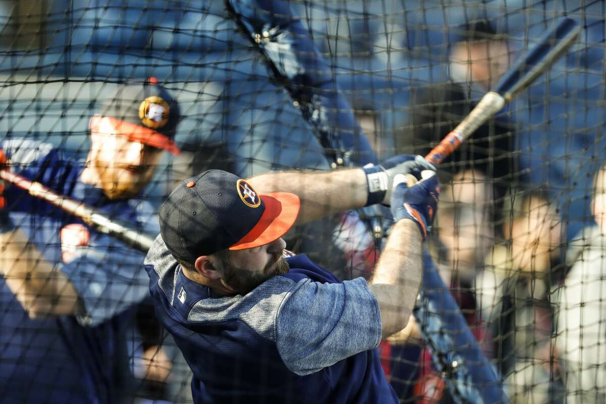 Houston Astros first baseman Tyler White takes batting practice before Game 4 of the ALCS at Yankee Stadium on Tuesday, Oct. 17, 2017, in New York. ( Karen Warren / Houston Chronicle )