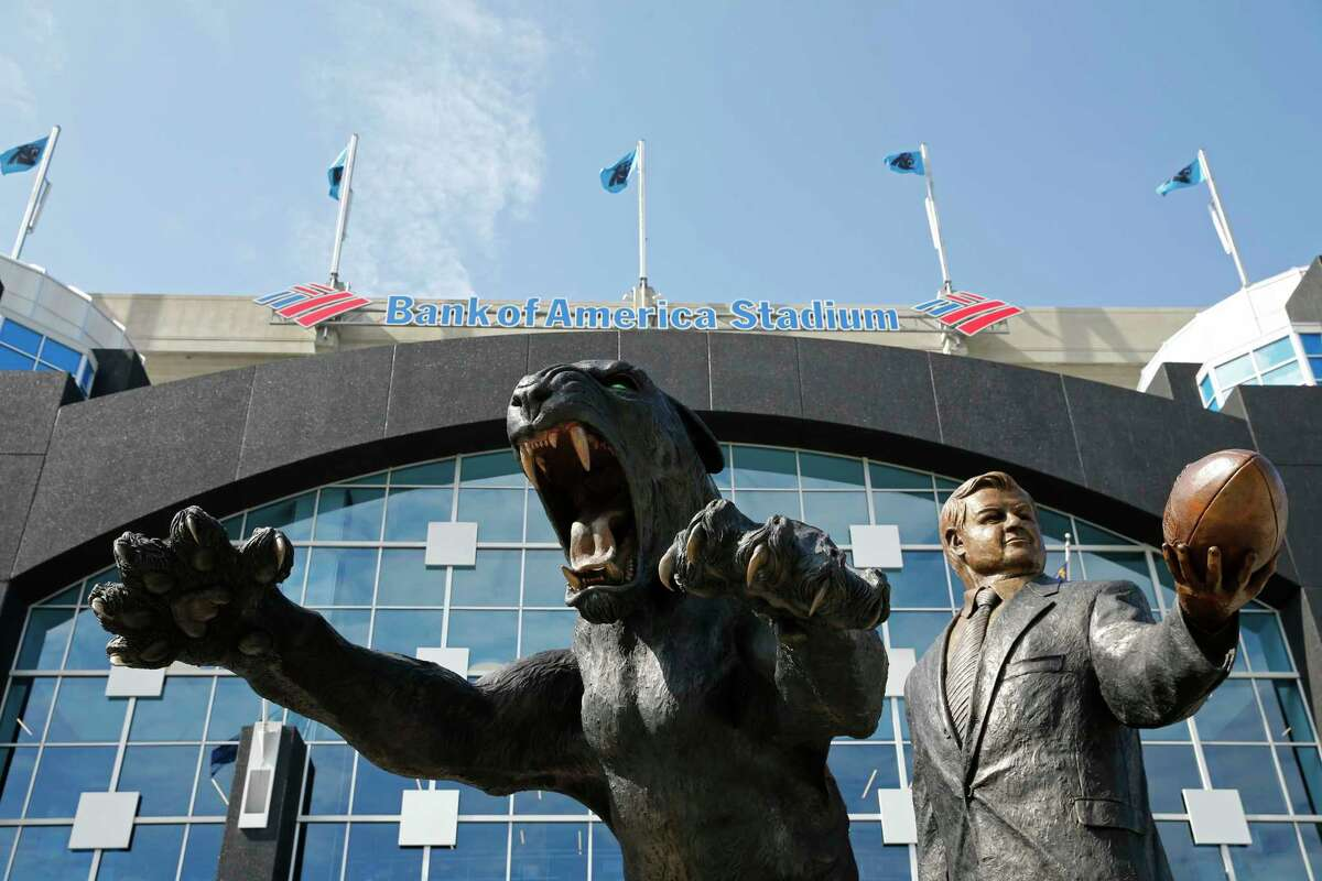 A bronze statue of Carolina Panthers owner Jerry Richardson and the team mascot is shown before an NFL football game between the Carolina Panthers and the Buffalo Bills in Charlotte, N.C., on Sept. 17.