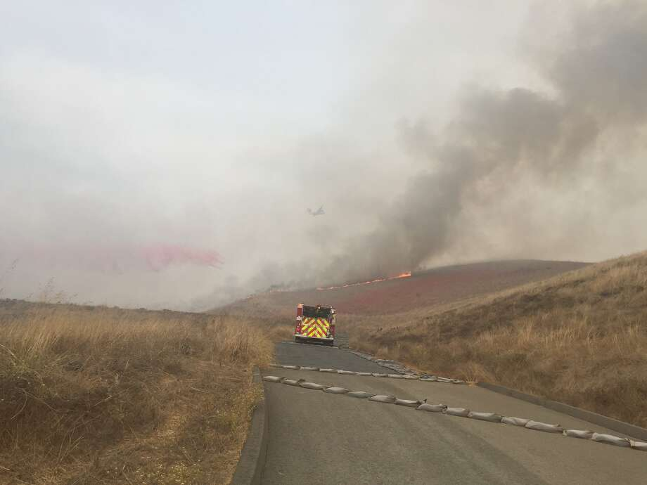 Law enforcement and firefighting agencies respond to the burgeoning Fallon Fire in Dublin, Calif. on October 17, 2017. Photo: Twitter/Alameda County Fire