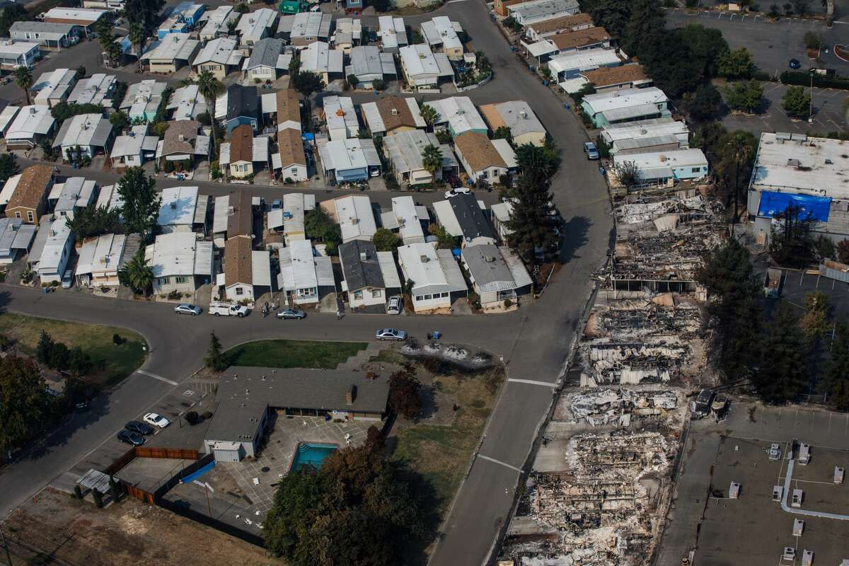 Aerial view of the damage caused by wildfire in a trailer park on October 11, 2017 in Santa Rosa, California.