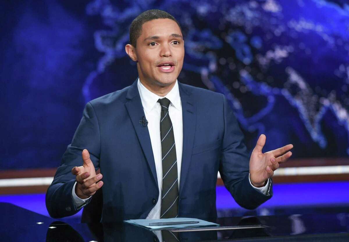 """Trevor Noah appears during a taping of Comedy Central's """"The Daily Show with Trevor Noah"""" in New York. Charter Communications and Viacom, which owns Comedy Central, announced Tuesday, Oct. 17, 2017, they had agreed in principle on a new contract."""