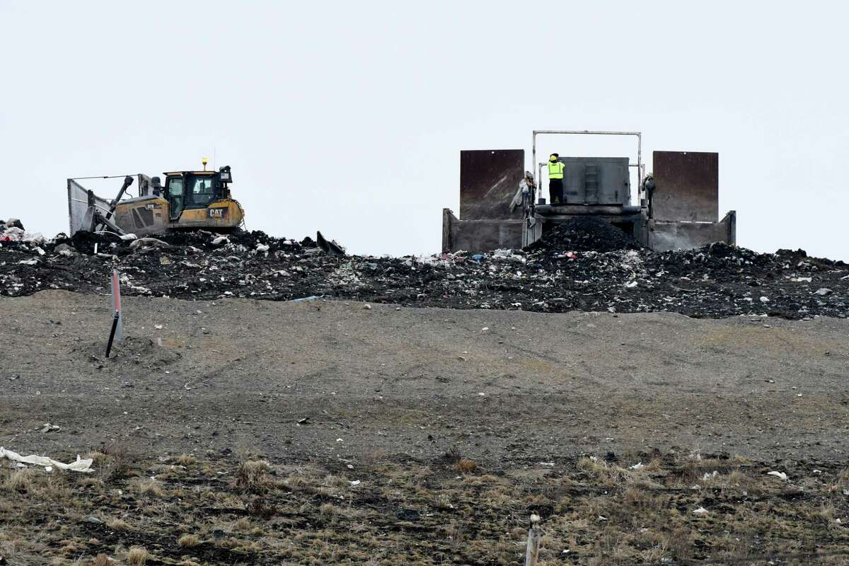 Waste is dumped and dispersed at the Colonie Landfill on Friday, Jan. 20, 2017, in Colonie, N.Y. (Will Waldron/Times Union)