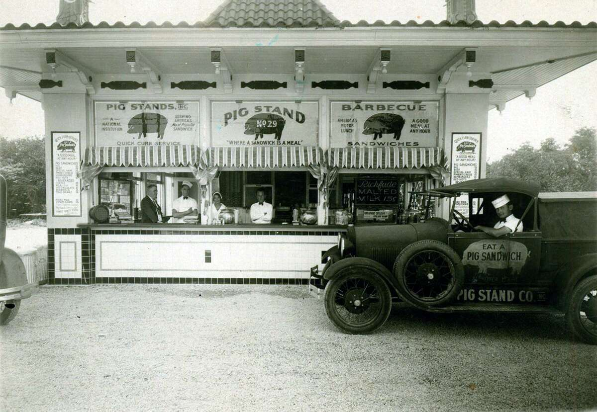 Shown here in 1931, the Pig Stand on Broadway is the last one surviving of a chain that once exceeded 130 locations and stretched from coast to coast.